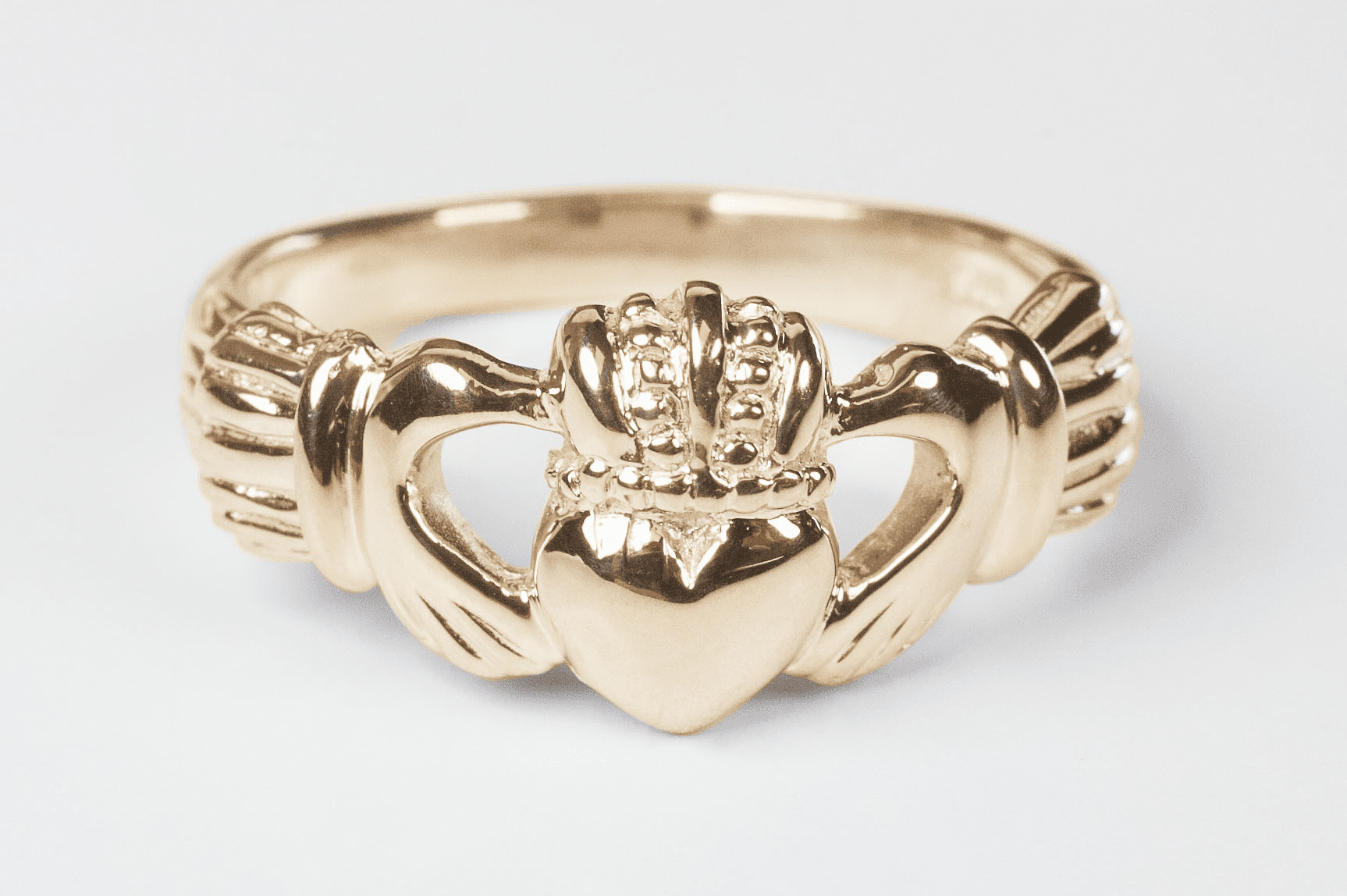 Bliss Men's and Women's 14kt Yellow Gold Irish Claddagh Ring