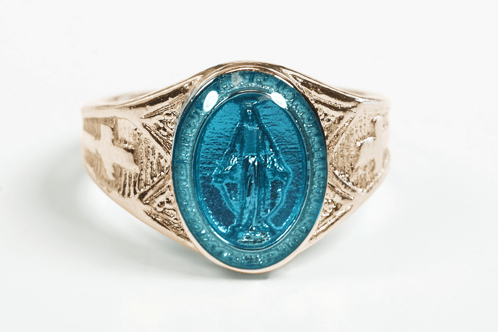 Bliss Men's Religious 14kt Yellow Gold Blue Epoxy Miraculous Medal Ring