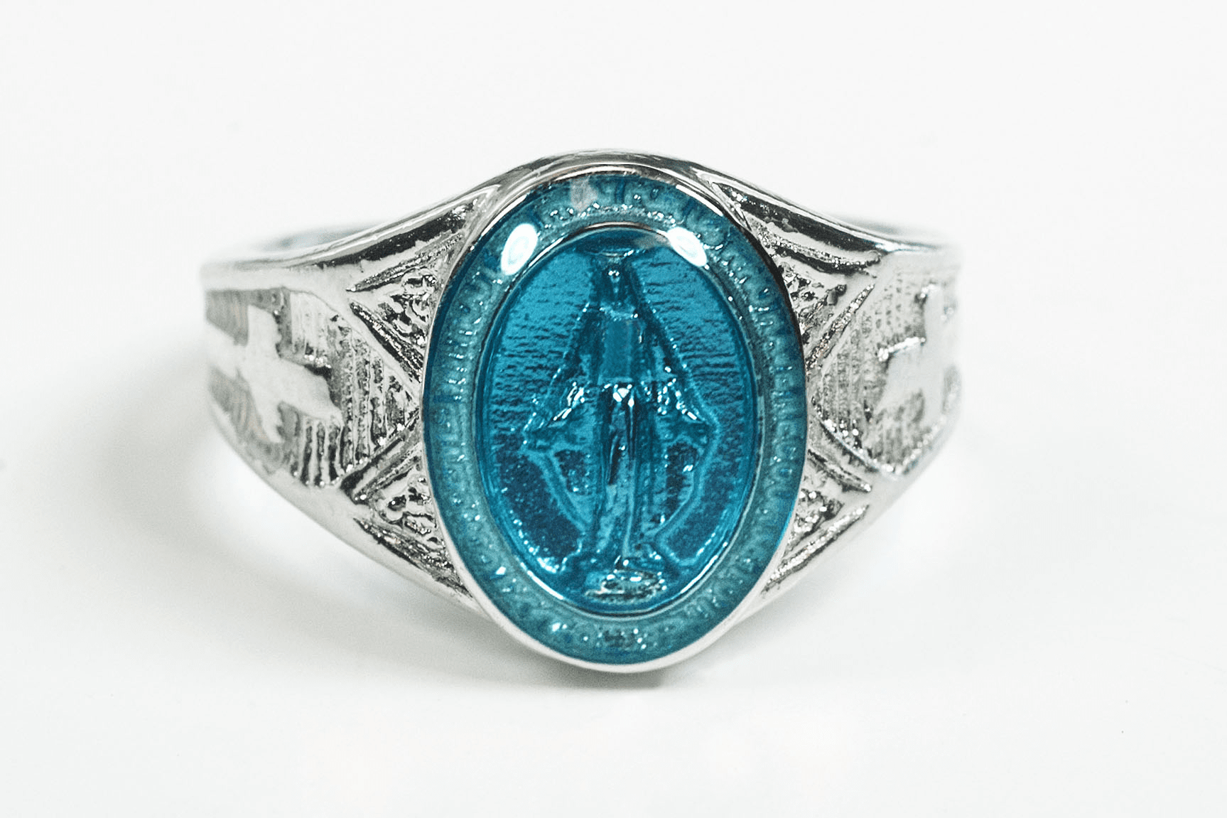 Bliss Men's Religious Sterling Silver Blue Miraculous Medal Ring