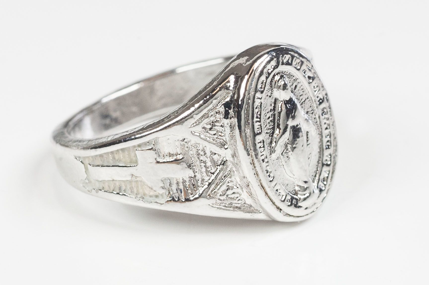 Bliss Men U0026 39 S Religious Sterling Silver Miraculous Medal Ring
