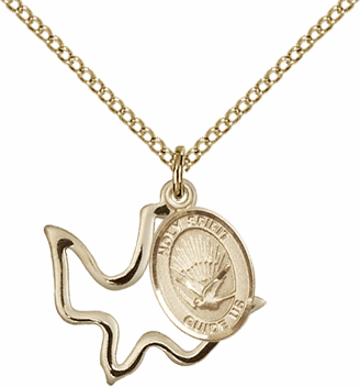 Bliss Mfg 14kt Gold-filled Holy Spirit Double Dove Medal Necklace