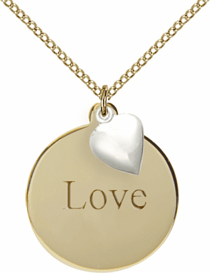 Bliss Mfg 14kt Gold-filled Plain Disc w/SS Cross Charm Necklace