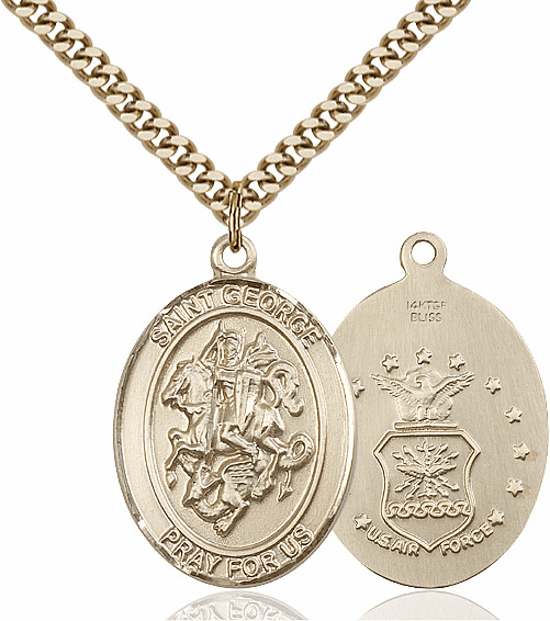 Bliss Mfg 14kt Gold Filled St. George Air Force Pendant Necklace