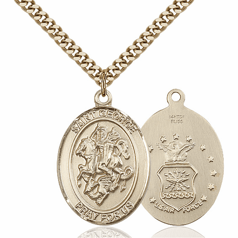 Bliss 14kt Gold Filled St. George Air Force Pendant Necklace