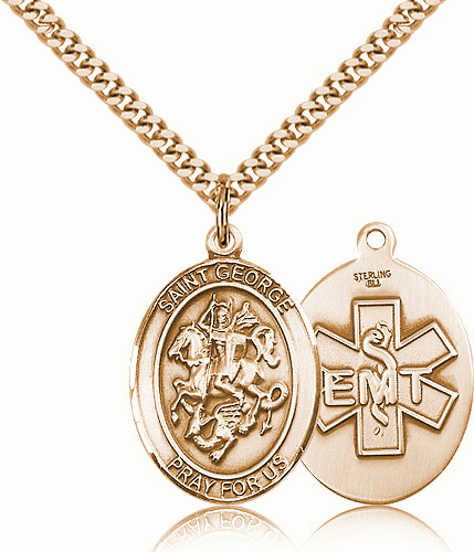 14kt Gold-filled St George EMT Saint Medal Pendant Necklace
