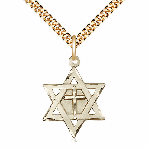 Bliss Mfg 14kt Gold-filled Star of David Medal with Cross Necklace