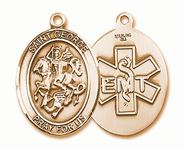 14kt Gold St George EMT Saint Medal Pendant Necklace