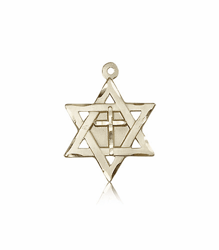 Bliss Mfg 14kt Gold Star of David Medal with Cross Necklace