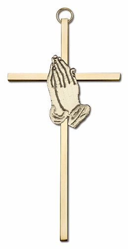 Bliss Mfg Engravable 6 inch Antique Gold Praying Hands on a Polished Brass Wall Cross