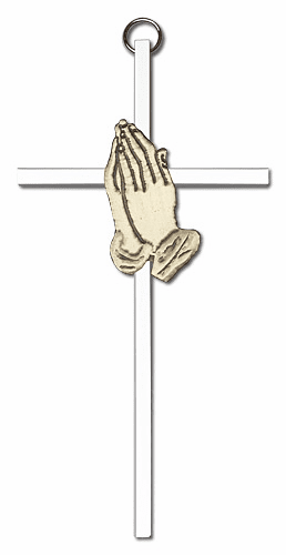 Bliss Mfg Engravable 6 inch Antique Gold Praying Hands on a Polished Silver Finish Wall Cross