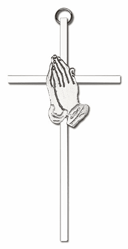 Bliss MfgEngravable  6 inch Antique Silver Praying Hands on a Polished Silver Finish Wall Cross