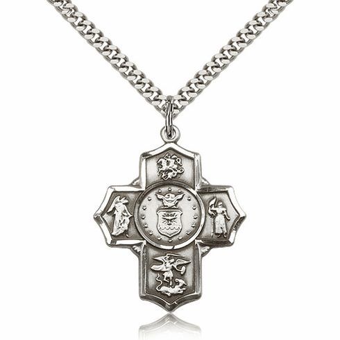 Bliss Mfg Air Force 5-Way Military Cross Sterling Silver Medal Necklace