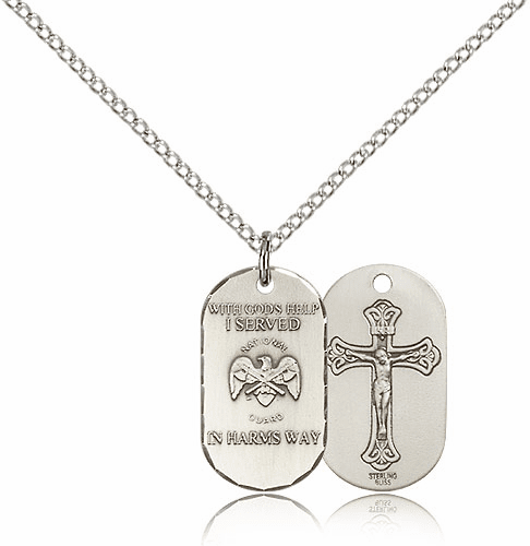 Bliss Mfg Air Force Crucifix Dog Tag Medal Necklace