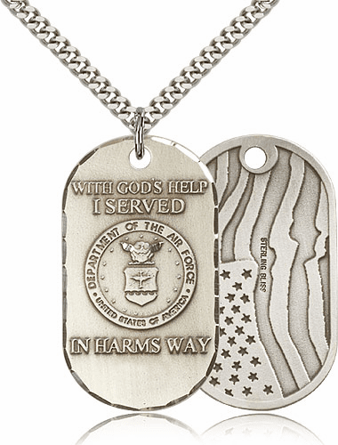 Bliss Mfg Air Force Dog Tag Medal Necklace