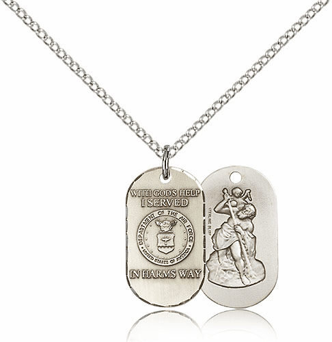 Bliss Mfg Air Force St. Christopher Medal Necklace