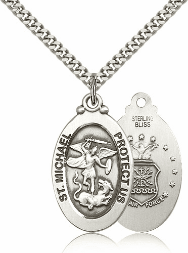 Bliss Mfg Air Force Sterling Silver St Michael the Archangel Pendants