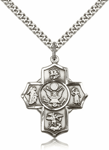 Bliss Mfg Army 5-Way Military Cross Sterling Silver Medal Necklace