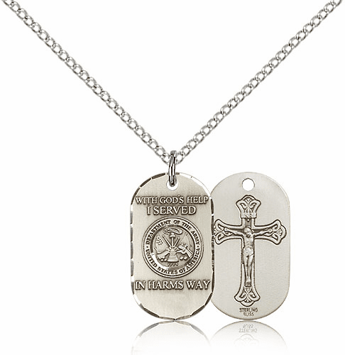 Bliss Mfg Army Crucifix Dog Tag Medal Necklace