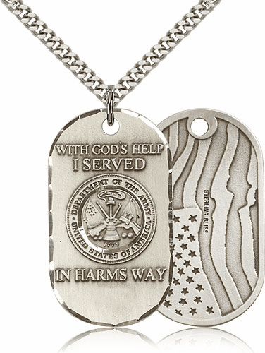 Bliss Mfg Army Dog Tag Medal Necklace w/American Flag
