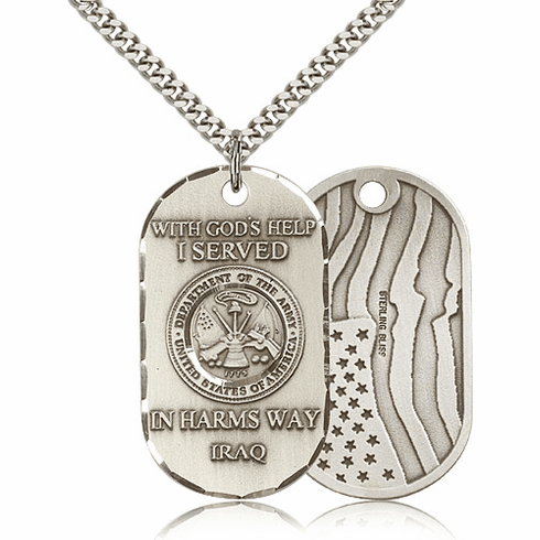Bliss Mfg Army Military Dog Tag Necklace w/American Flag