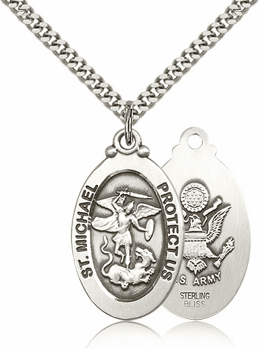 Bliss Mfg Army Sterling Silver St Michael the Archangel Pendants