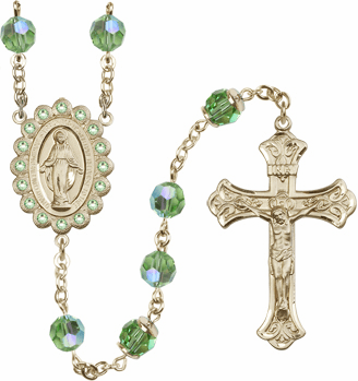 Bliss Mfg Birthstone 14kt Gold August Peridot Swarovski AB Crystals Rosary