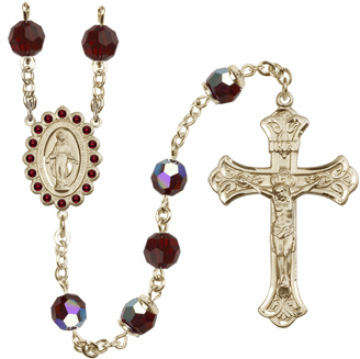 Bliss Mfg Birthstone 14kt Gold January Garnet Swarovski AB Crystals Rosary