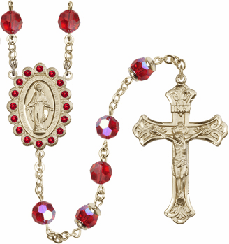 Bliss Mfg Birthstone 14kt Gold July Ruby  Swarovski AB Crystals Rosary