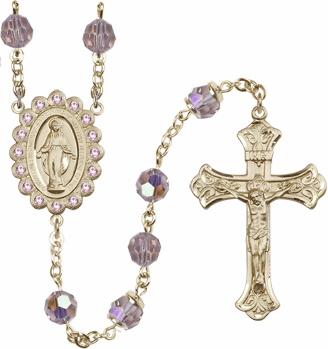 Bliss Mfg Birthstone 14kt Gold June Lt Amethyst Swarovski AB Crystals Rosary