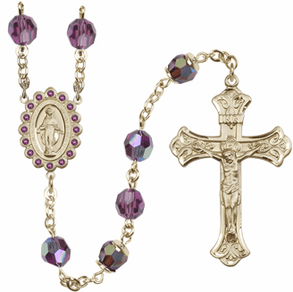 Bliss Mfg Birthstone 14kt Gold Rosary with 8mm AB Amethyst Swarovski Miraculous Center