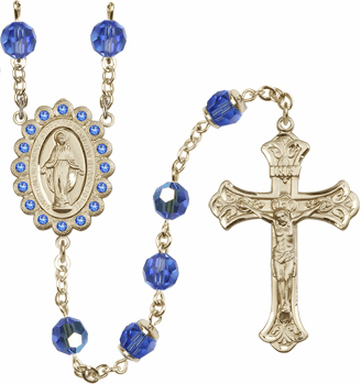 Bliss Mfg Birthstone 14kt Gold September Sapphire Swarovski AB Crystals Rosary