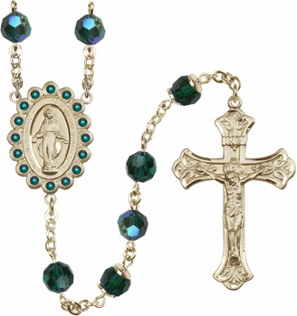 Bliss Mfg Birthstone 14kt Gold Swarovski Rosary May Emerald AB Crystals