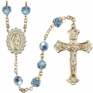 Bliss Mfg Birthstone 14kt Gold Swarovski Rosary w/8mm AB Aqua Crystals