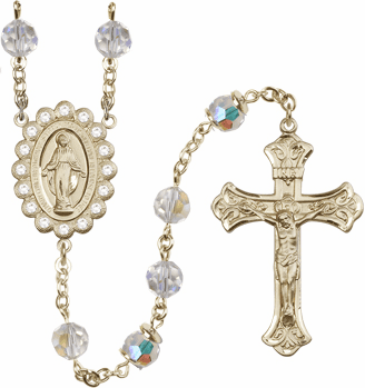 Bliss Mfg Birthstone 14kt Gold Swarovski Rosary w/8mm April Crystal AB Crystals