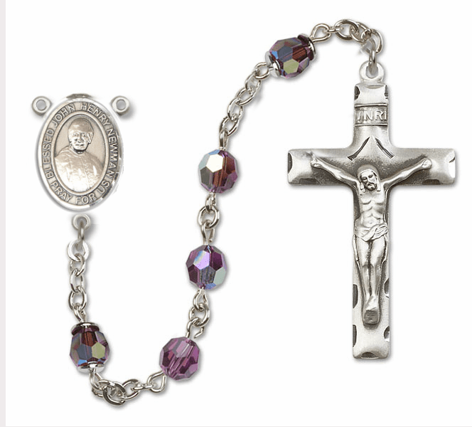 """Bliss Mfg Blessed John Henry Newman Swarovski Crystal Sterling, Gold-filled and 14kt Gold Rosary """"More Options"""""""