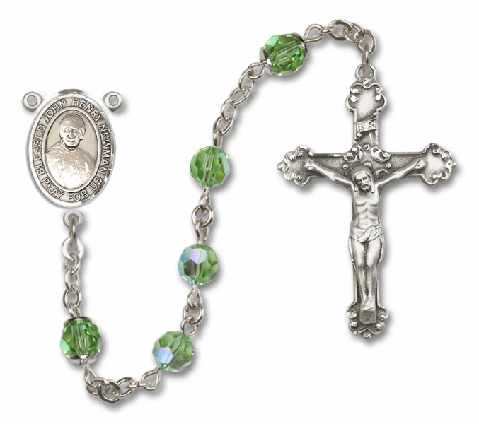 Bliss Blessed John Henry Newman Swarovski Crystal Sterling and Gold Rosaries - More Colors