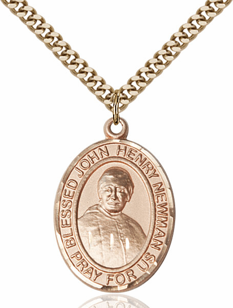 Blessed John Henry Newman Yellow Gold Filled Medal Necklace