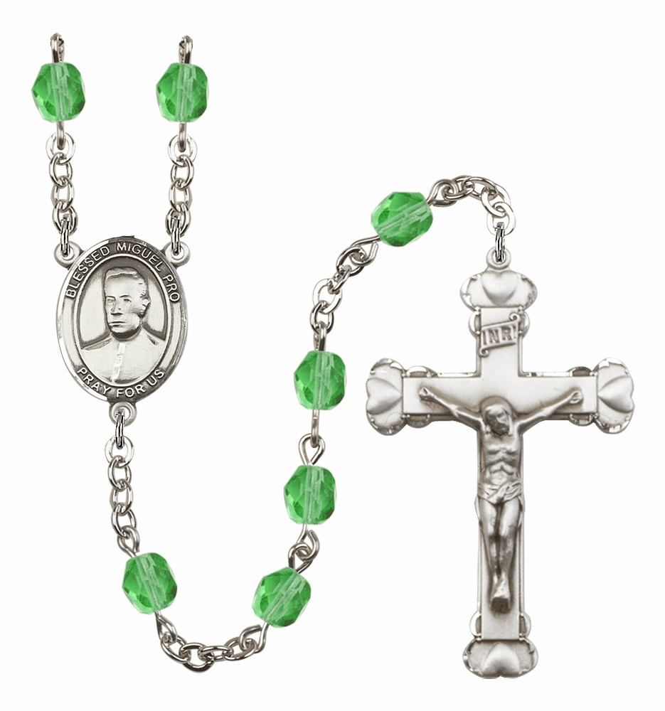 Bliss Mfg Blessed Miguel Agustin Pro Aug/Peridot Birthstone Heart Rosary