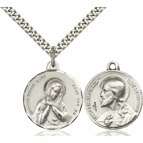 Bliss Blessed Virgin and Sacred Heart Medal Necklace