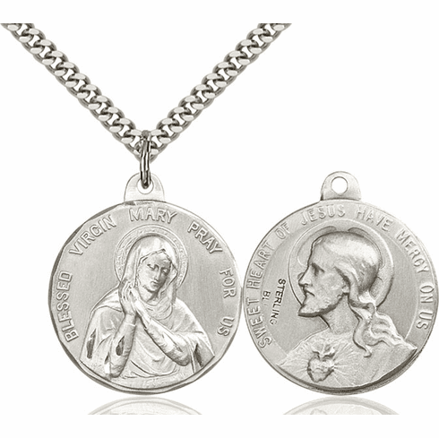 Bliss Mfg Blessed Virgin Mary and Sacred Heart of Jesus Necklace