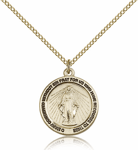 Bliss Mfg Catholic Miraculous Medal 14kt Gold-filled Necklace