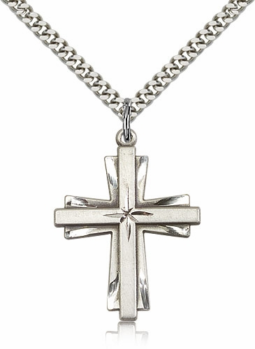 Bliss Mfg Catholic Sterling Silver Double Cross Pendant