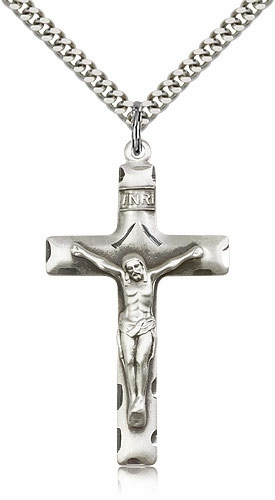 Bliss Mfg Catholic Sterling Silver Etched Plain Tip Crucifix Cross
