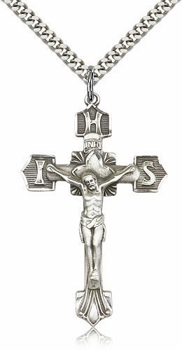 Bliss Mfg Catholic Sterling Silver IHS Tip Crucifix Cross
