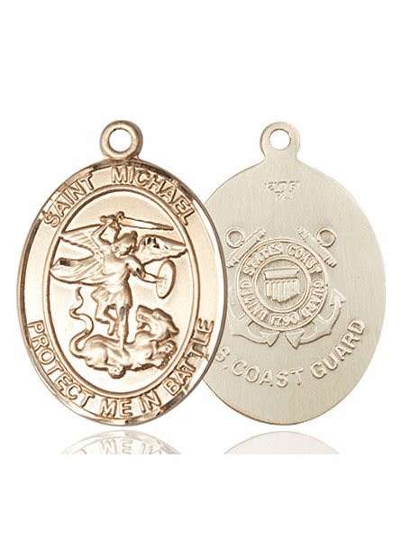 Bliss Mfg Coast Guard 14kt Gold St Michael the Archangel Medal Pendant