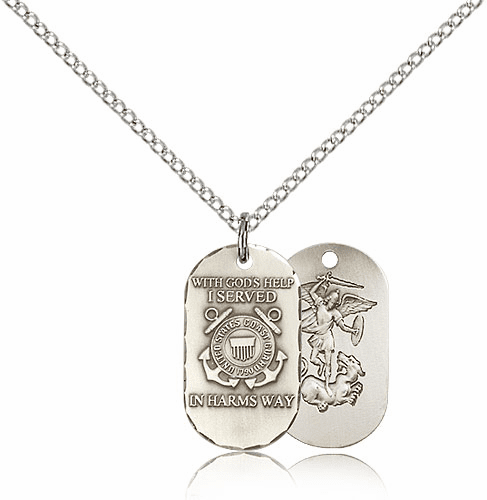 Bliss Mfg Coast Guard Military Dog Tag Necklace