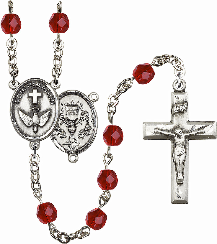 Bliss Mfg Confirmation Chalice July Ruby Birthstone Rosary