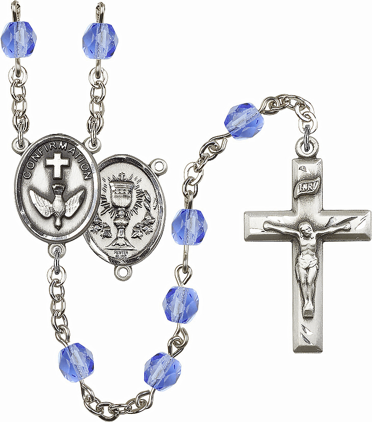 Bliss Mfg Confirmation Chalice September Sapphire Birthstone Rosary