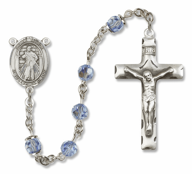 "Bliss Mfg Divine Mercy Sterling Silver Patron Saint  Swarovski Crystal Rosary - ""More Options"""