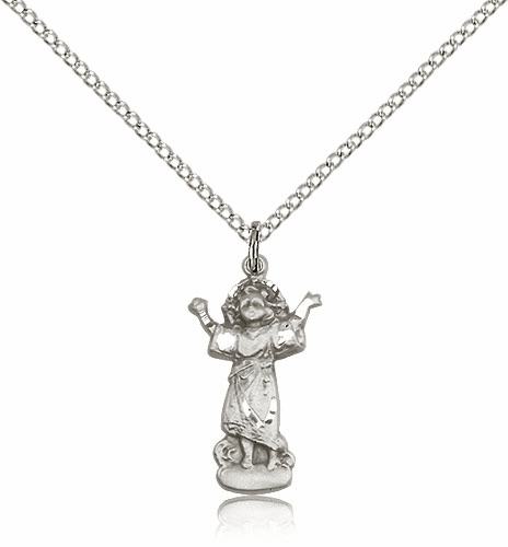 Bliss Mfg Divino Nino Silver-filled Figure Shape Pendant w/SS Chain